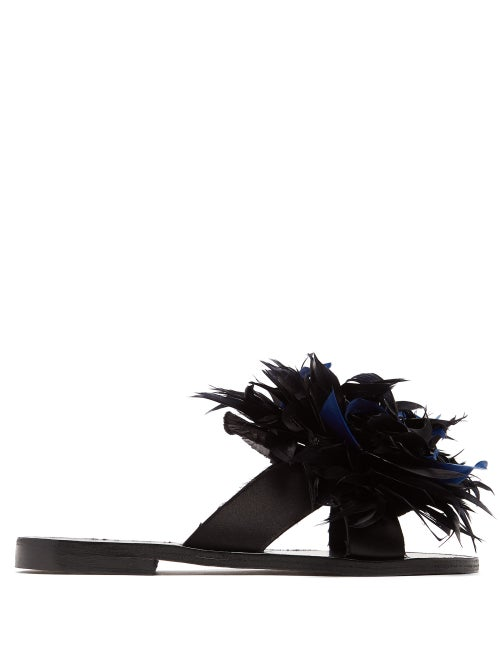 Álvaro Antoniona Feather Trimmed Leather Sandals OnceOff