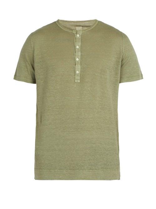 120% Lino Linen Jersey Henley Top OnceOff