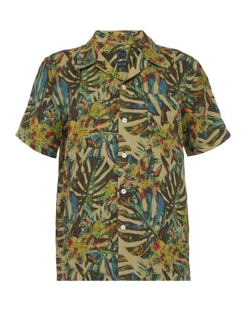 120% Lino Palm Leaf Print Linen Bowling Shirt OnceOff