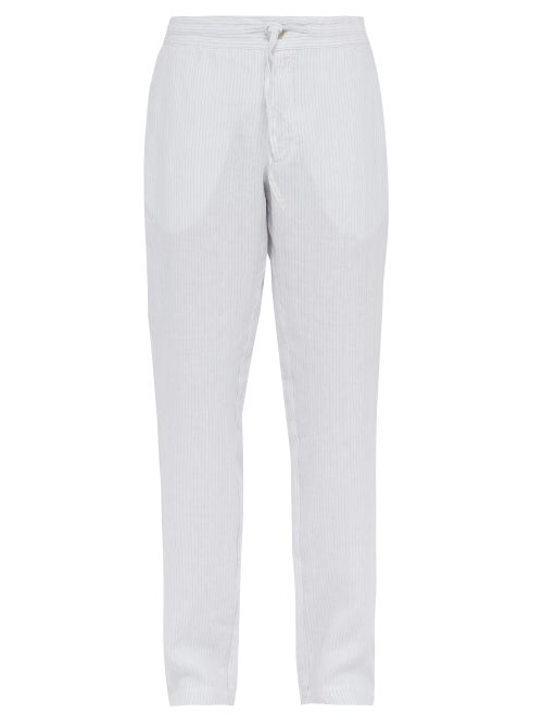 120% Lino Striped Slubbed Linen Relaxed Fit Trousers OnceOff
