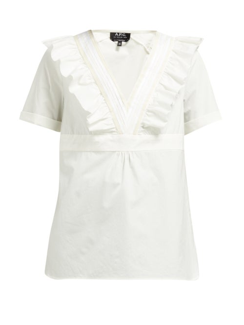 A.P.C. Erwin Ruffled V Neck Cotton Top OnceOff