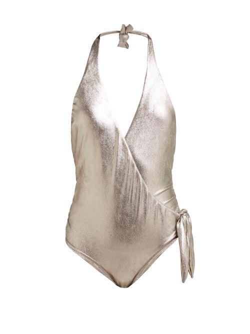 Adriana Degreas Metallic Jersey Halterneck Swimsuit OnceOff