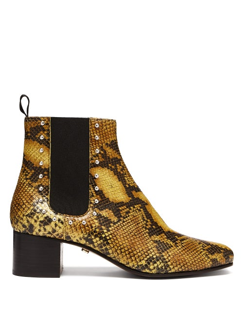 Alexachung Python Print Leather Chelsea Boots OnceOff