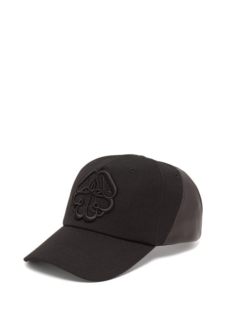 Alexander Mcqueen Logo Embroidered Leather Panelled Cotton Cap OnceOff