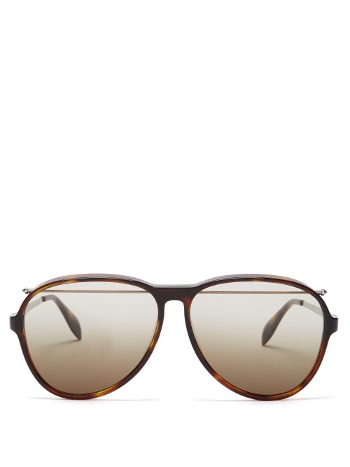 Alexander Mcqueen Top Bar Aviator Acetate Sunglasses OnceOff