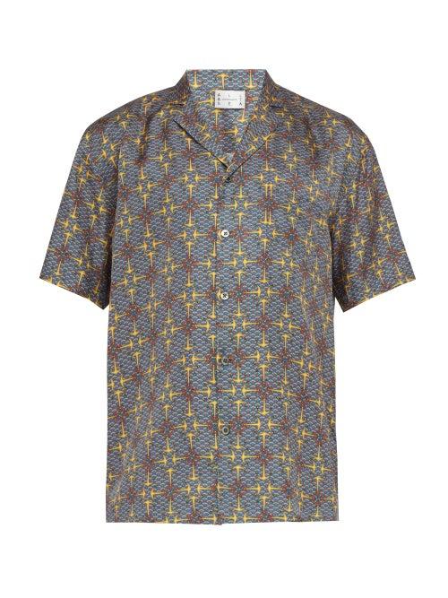 All At Sea Anchor Print Short Sleeved Silk Shirt OnceOff