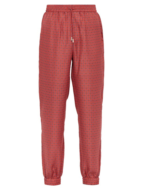 All At Sea Anchor Print Silk Pyjama Trousers OnceOff