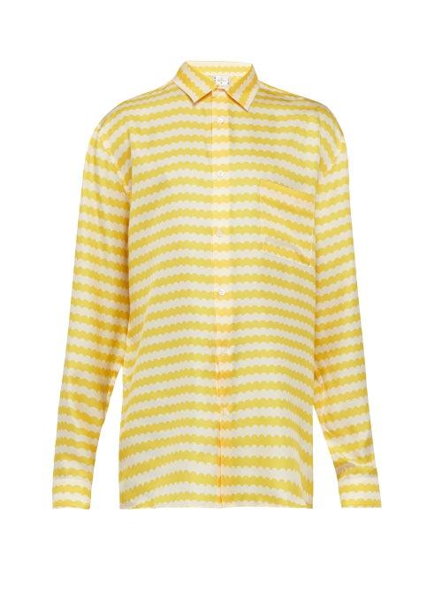 All At Sea Wave Print Silk Pyjama Shirt OnceOff