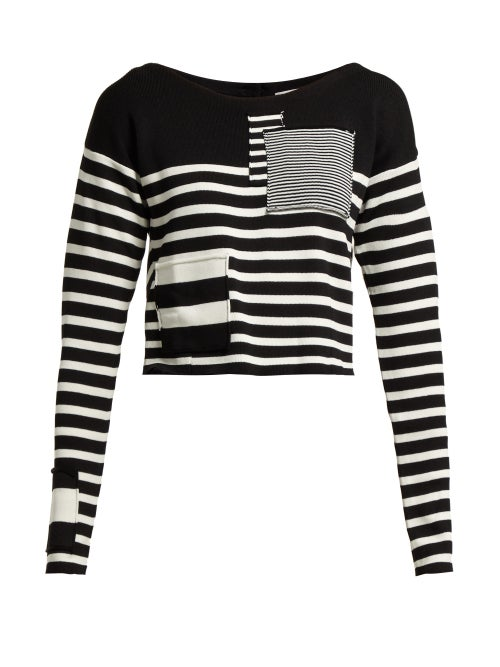 Altuzarra Cousteau Patch Detailed Striped Ribbed Knit Top OnceOff