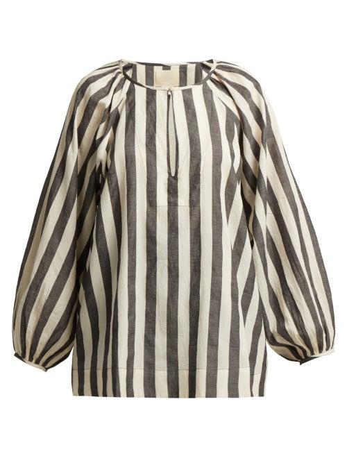 Anaak Striped Keyhole Yoke Cotton Blouse OnceOff