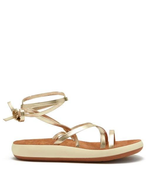 Ancient Greek Sandals Morfi Comfort Metallic Leather Sandals OnceOff