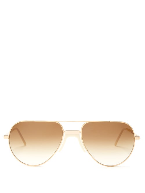 Andy Wolf White Sun Aviator Metal Sunglasses OnceOff