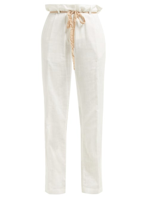 Ann Demeulemeester Raw Seam Tailored Cotton Trousers OnceOff