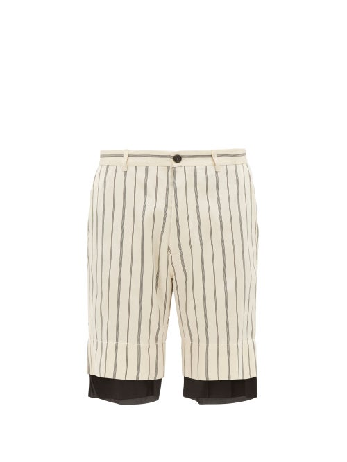Ann Demeulemeester Striped Double Layer Satin Shorts OnceOff