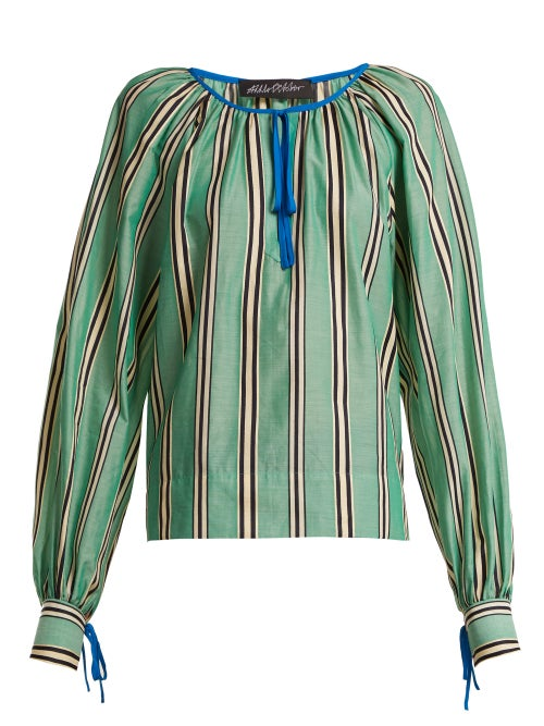 Anna October Stripe Printed Round Neck Cotton Blouse OnceOff
