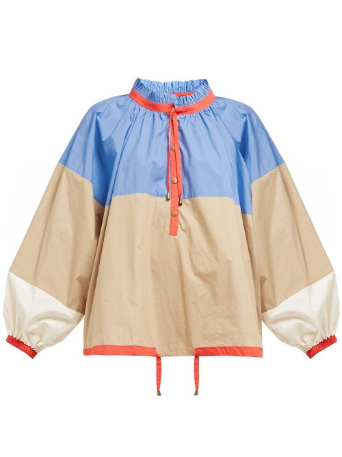 Apiece Apart Zabatela Gathered Puff Sleeves Cotton Blouse OnceOff