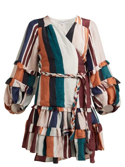 Apiece Apart Zarza Striped Linen Blend Wrap Dress OnceOff
