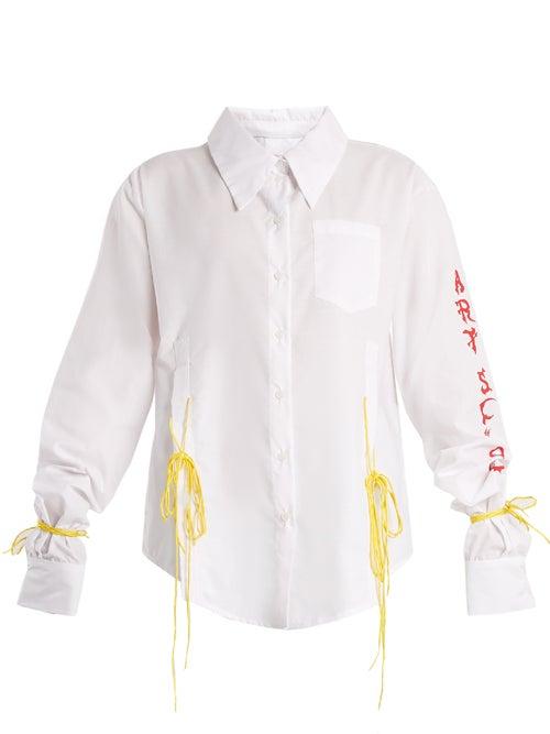 Art School Acid Oversized Tie Side Cotton Shirt OnceOff