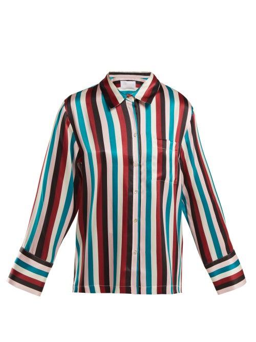 Asceno Striped Silk Pyjama Top OnceOff