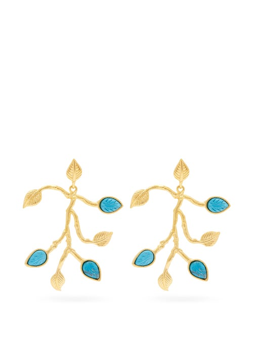 Aurélie Bidermann True Blue 18kt Gold Plated Leaf Earrings OnceOff