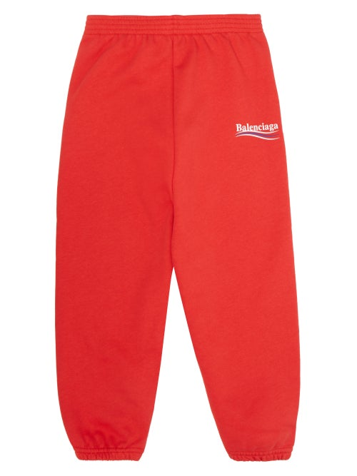 Balenciaga Kids Logo Print Cotton Blend Track Pants OnceOff