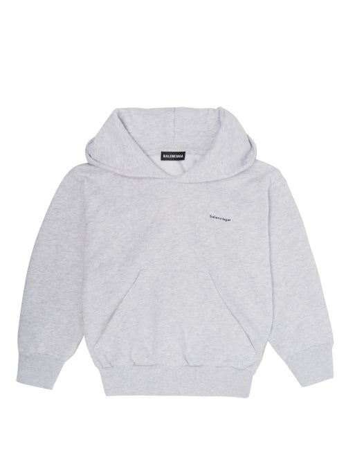 Balenciaga Kids Logo Print Hooded Cotton Blend Sweatshirt OnceOff