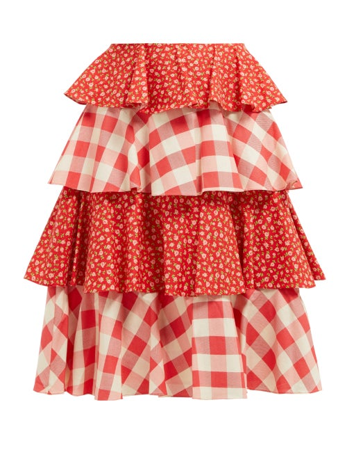Batsheva Gingham And Floral Print Tiered Cotton Skirt OnceOff
