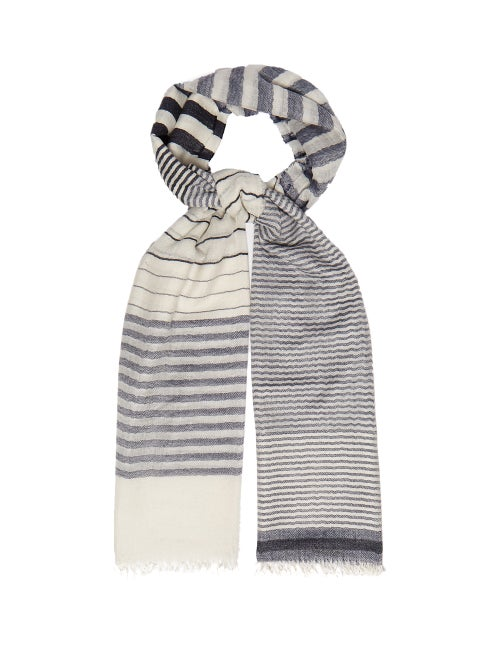 Begg & Co. Staffa Yacht Striped Cashmere And Silk Scarf OnceOff