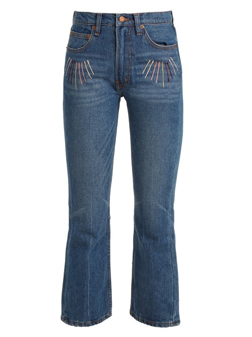 Bliss And Mischief Sunrise Embroidered High Rise Cropped Jeans OnceOff