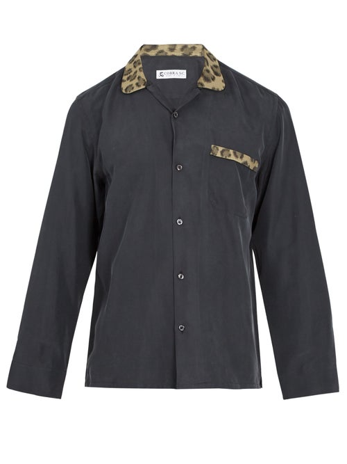 Cobra S.C. Contrast Leopard Jacquard Panelled Silk Shirt OnceOff