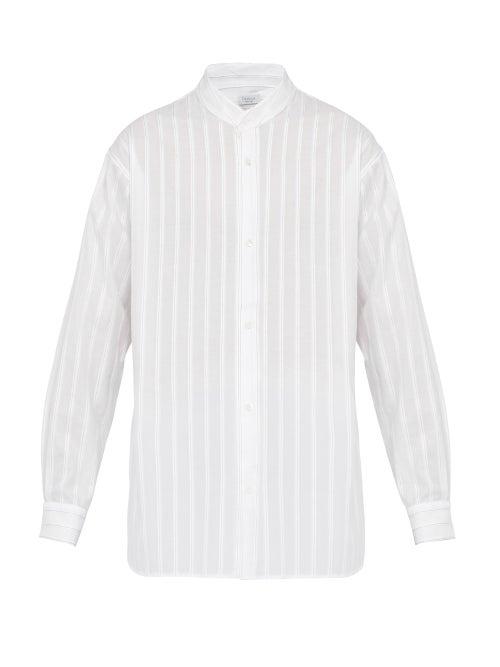 Deveaux Pleated Chalk Stripe Cotton Poplin Shirt OnceOff