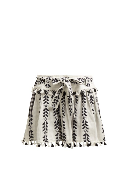 Dodo Bar Or Ariana Geometric Embroidered Cotton Mini Skirt OnceOff