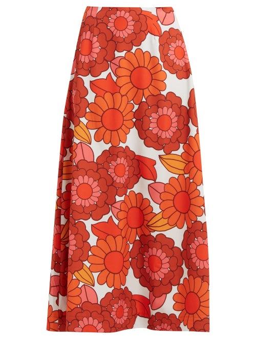 Dodo Bar Or Maximillianne Floral Print Crepe Midi Skirt OnceOff
