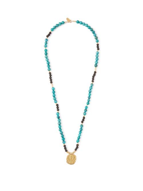 Elise Tsikis Lerissos Turquoise Beaded Charm Necklace OnceOff