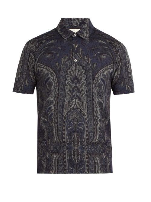 Etro Paisley Print Cotton Polo Shirt OnceOff