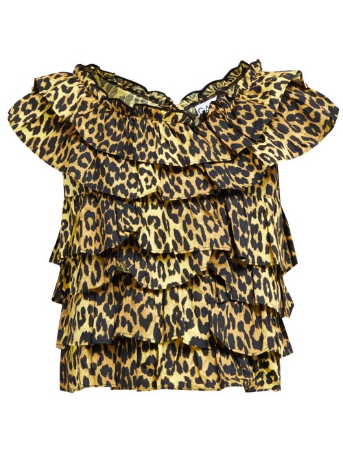 Ganni Bijou Ruffled Leopard Print Cotton Top OnceOff