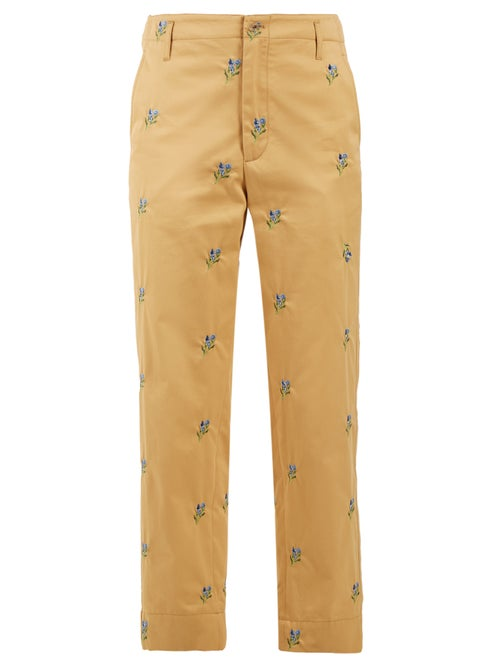Golden Goose Floral Embroidered Straight Leg Twill Trousers OnceOff