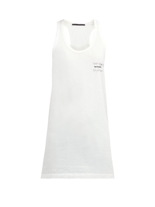 Haider Ackermann Tekst Print Cotton Tank Top OnceOff