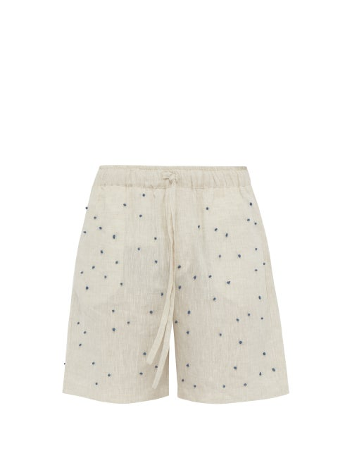Hecho Knot Embroidered Linen Shorts OnceOff