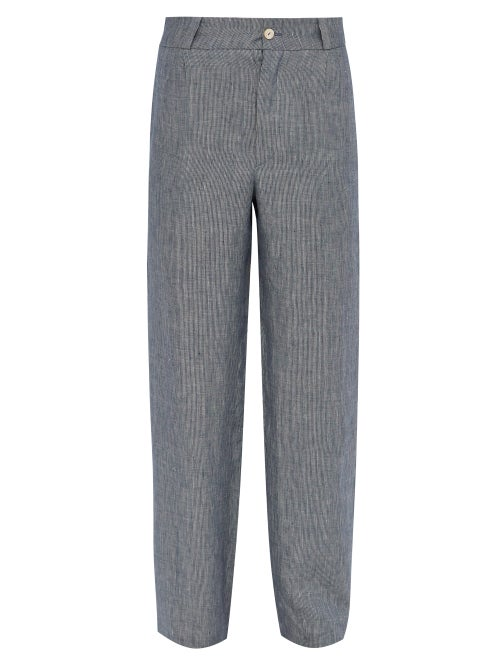 Hecho Mid Rise Striped Linen Trousers OnceOff