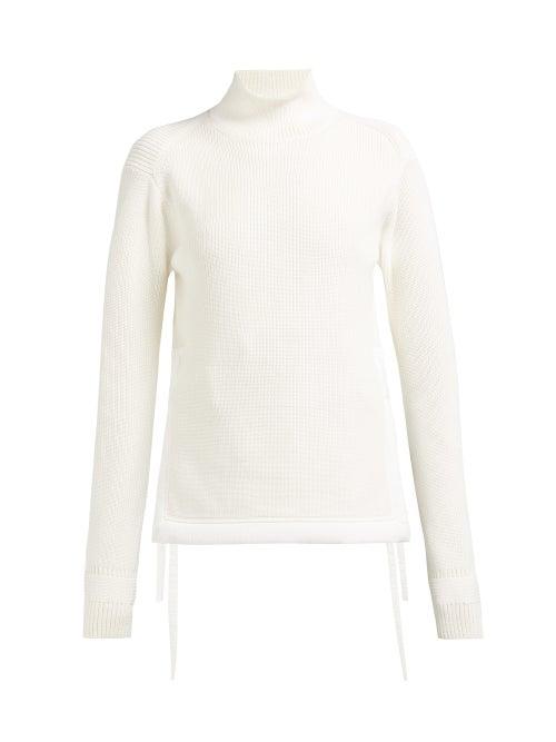 Helmut Lang Tie Up Mock Neck Cotton Sweater OnceOff