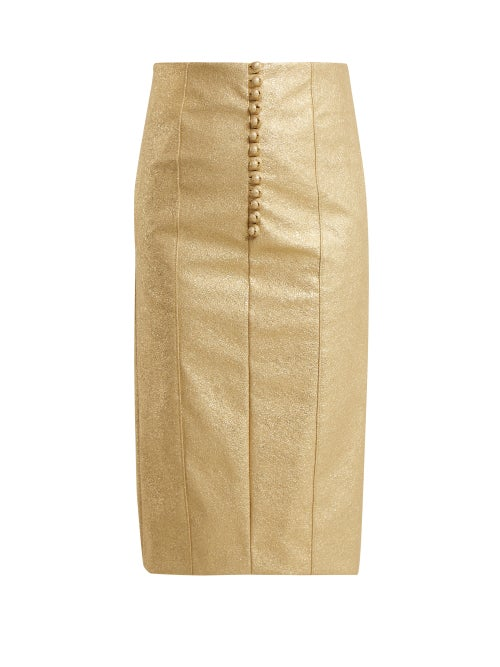 Hillier Bartley Metallic Buttoned Faux Leather Pencil Skirt OnceOff