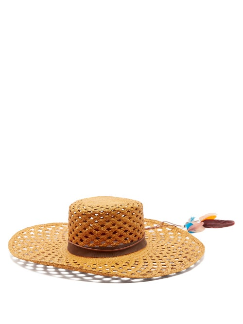 House Of Lafayette Reed 1 Feather Trimmed Straw Panama Hat OnceOff