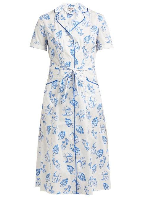 Hvn Maria Fish Print Cotton Blend Midi Dress OnceOff