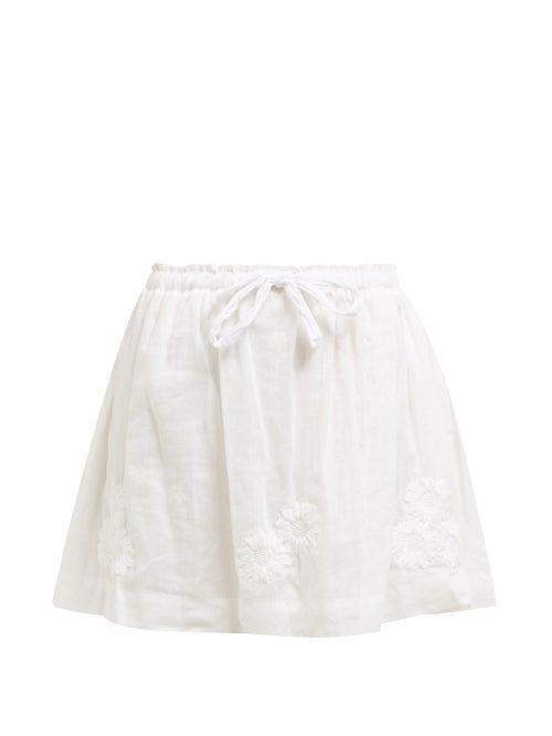 Innika Choo Flower Embroidered Ramie Mini Skirt OnceOff
