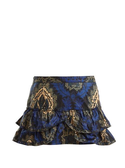 Isabel Marant Bertille Floral Print Ruffle Trimmed Mini Skirt OnceOff
