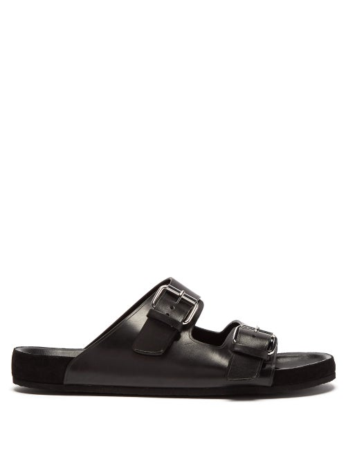 Isabel Marant Lekson Double Buckle Leather Slides OnceOff
