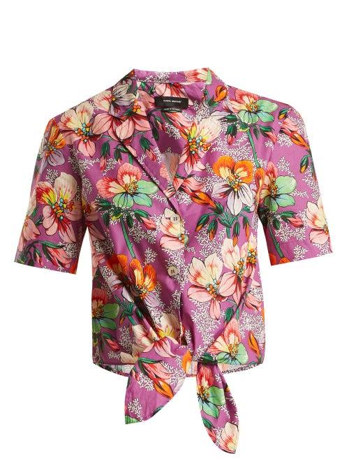 Isabel Marant Nelia Floral Print Tie Waist Shirt OnceOff