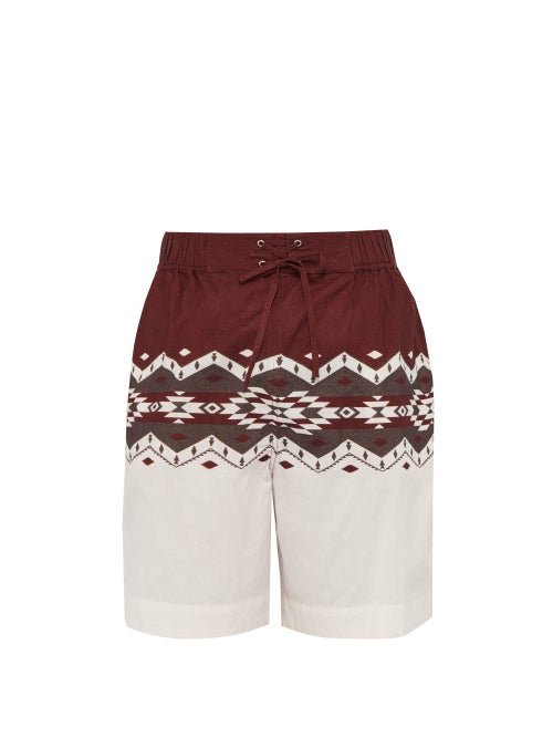 Isabel Marant Portici Geometric Print Drawstring Cotton Shorts OnceOff