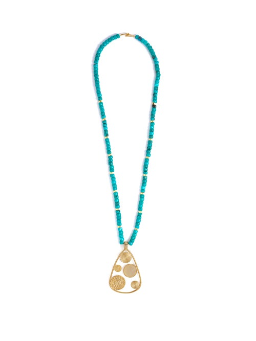 Joelle Kharrat Moneta Turquoise And Gold Plated Necklace OnceOff